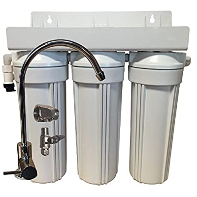 "3 Stage 10"" Drinking Water Filter for Fluoride, Arsenic, & Heavy Metal Removal w/ Activated Alumina & GAC/KDF"