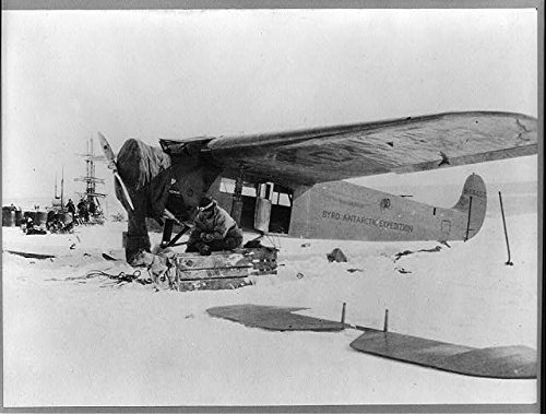 Fokker Monoplane (Photo: Fokker monoplane,Bernt Balchen,Lt. June,Professor Gould,April c1929,Antarctica)