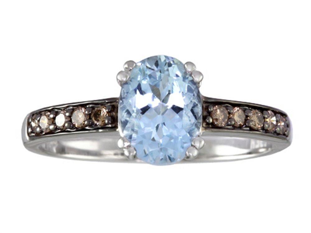 Effy Collection 14k White Gold Aquamarine Ring Size 7.5