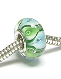 Queenberry Sterling Silver Round Green Blue Glass Lily Flower Leaf Bead for European Chamilia Biagi Troll Pandora Charm Bracelets