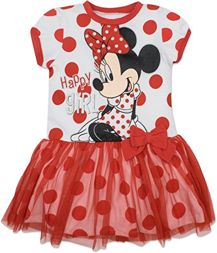 Disney Toddler Girls' Minnie Mouse Tulle Dress, White With Red Polka Dots (4T) - Dot Tulle Dress