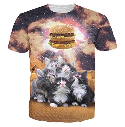 Uideazone Unisex Funny Cats Hamburg Light Short Sleeve Shirt Graphic - Hamburg Shop Asia