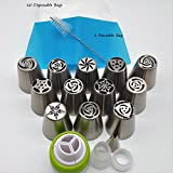 New 27pcs Russian Piping Tips Set Stainless Steel Icing Nozzles 10 Disposable Bags Cake Decorating Supplies Kitchen Gift
