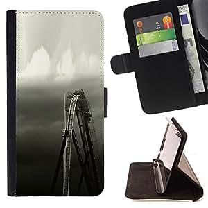 RUSTIC BLACK WHITE FERRIS WHEEL SKY/ Personalizada del estilo del dise???¡Ào de la PU Caso de encargo del cuero del tir????n del soporte d - Cao - For Apple Iphone 5C