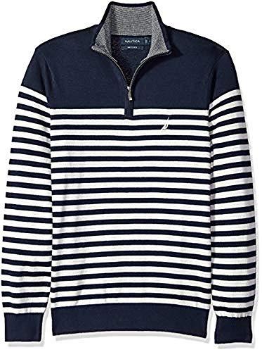 (Nautica Men's Long Sleeve 1/4 Zip Sweater, Navy X-Large)