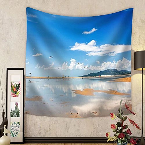 Niasjnfu Chen Custom tapestry Tarifa Beach in Spain Packed with Kitesurfers - Fabric Wall Tapestry Home Decor by Niasjnfu Chen