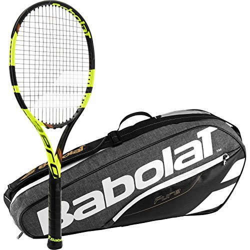 Babolat Pure Aero VS Tour Yellow/Black Adult Tennis Racquet (Grip Size 4 3/8) with a Grey/Black Pure Line Racket Holder x3
