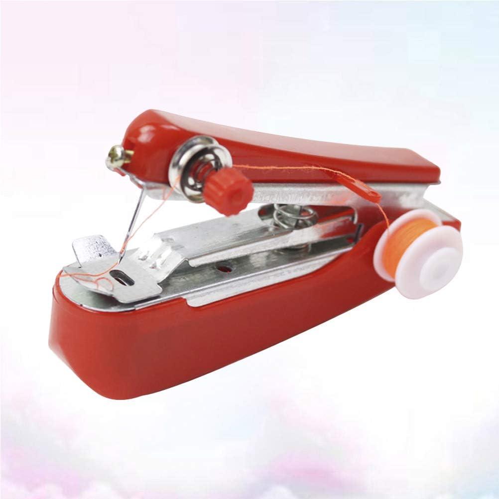 LIOOBO Portable Rouge Machine /À Coudre Maison Multifonction Mini sans Fil De Poche Main Manuel Machine /À Coudre pour Couture Couture Al/éatoire Fil Couleur