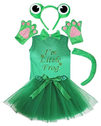 Petitebella Headband Bowtie Tail Gloves Shirt Skirt 6pc Girl Costume (Frog, 4-5 Yr) -