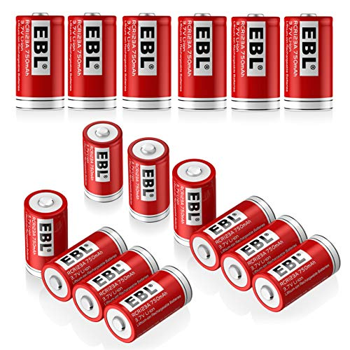 EBL RCR123A Batteries (16 PCS) 750mAh Lithium-ion Rechargeable Batteries Flashlight Arlo Wireless Security Cameras
