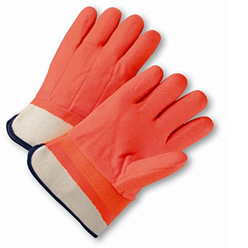West Chester 1017ORF Safety Orange PVC Coated Gloves, Large