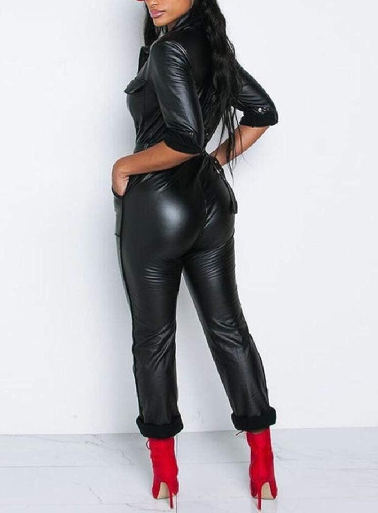 HEFASDM Women V Neck Belted Design Pu Leather Biker Highwaist Rompers Playsuit