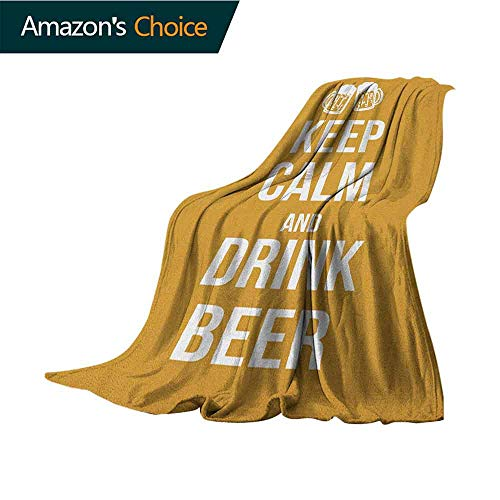(Keep Calm Weighted Blanket,Drink Beer Poster Design with Graphic Foamy Glasses Leisure Time Fun Pub Print for Bed & Couch Sofa Easy Care,30