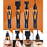 Nose Hair Trimmer [4-in-1] Grooming Kit 360 Degree Nose Ear Beard Sideburn Eyebrow Underarms Hair Trimmer Electric Shaver with Wet Dry&Vacuum Cleaning System-USB Charging by YIHW (Gold)