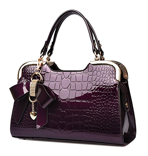 Yan Show Women's New Patent Leather Shoulder Bags Butterfly Pendant Totes Crocodile Pattern Handbags