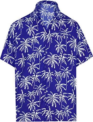 Palms Button - LA LEELA Hawaiian Shirt for Men Button Down S | Chest 38