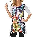 VIASA_ Women Floal Prints Blouse Irregular Striped Short T- Shirts Tops Summer Loose Blouses (Purple, M)