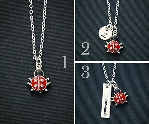 Ladybug Necklace - Spring Gift - DII ABC - Red Bug Insect Girls Charm Personalized - Name Initial Outdoor Tomboy Toddler Enamel (Name Initial Charm Pendant)