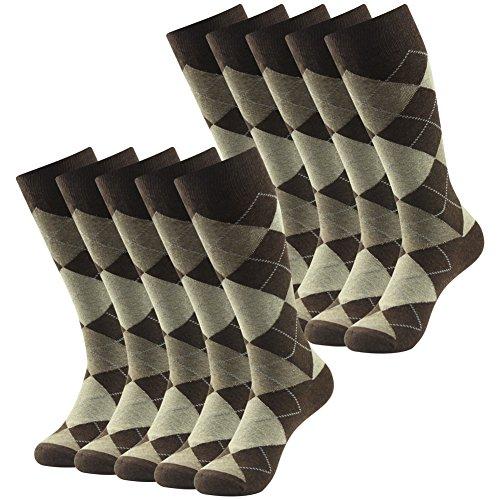 Groomsmens Wedding Dress Socks, SUTTOS Men's Coffee Brown Argyle Jacquard Dobby Flat Knit Big & Tall Moisture Control Wicking Mid Calf Long Crew Tube Socks