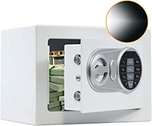SamYerSafe Safe Box with Sensor Light,Security Safe with Electronic Digital Keypad Money Safe Steel Construction Hidden with Lock,Wall or Cabinet Anchoring Design for Office Home Hotel(White)