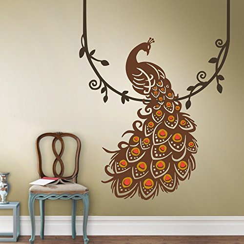 Peacock Wall Decals Wall Sticker Art Home D¨¦cor with Vines (A:Hanging Peacock) (Animal That Starts With M)