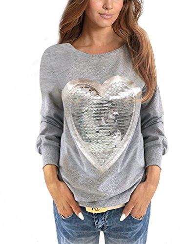 WanYang Mujeres Lentejuela Blusa Camisa Manga Larga Camiseta Top T Shirt Blouse Gran Tamaño Gris