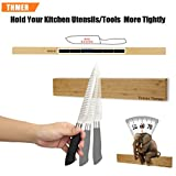 Thmer 16 Inch Free of Punch Magnetic Knife Holder, Bamboo Magnetic Knife Bar, Magnetic Knife Strip, Knife Rack Strip Kitchen Helper