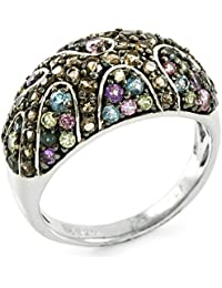 Sterling Silver Genuine Round Cut Smoky Quartz, Amethyst, Peridot and Blue Topaz Women's Ring, Size 7