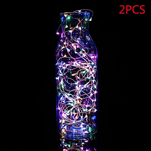 SHJNHAN Night Light, 2/5 pcs Button Cell Powered Silver Copper Wire Mini Fairy String Lights with 20LED Beads (Multicolor, (Lighthouse Brass Clock)