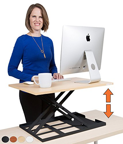 Standing Desk X-Elite – Stand Steady Standing Desk | X-Elite Pro Version, Instantly Convert Any Desk into a Sit / Stand up Desk, Height-Adjustable, Fully Assembled Desk Converter (Maple) by Stand Steady
