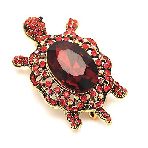 (GYAYU Women's Crystal Big Turtle Pin Brooch Lucky Gorgeous Classic Girl Animal Decorative Jewelry (Red))