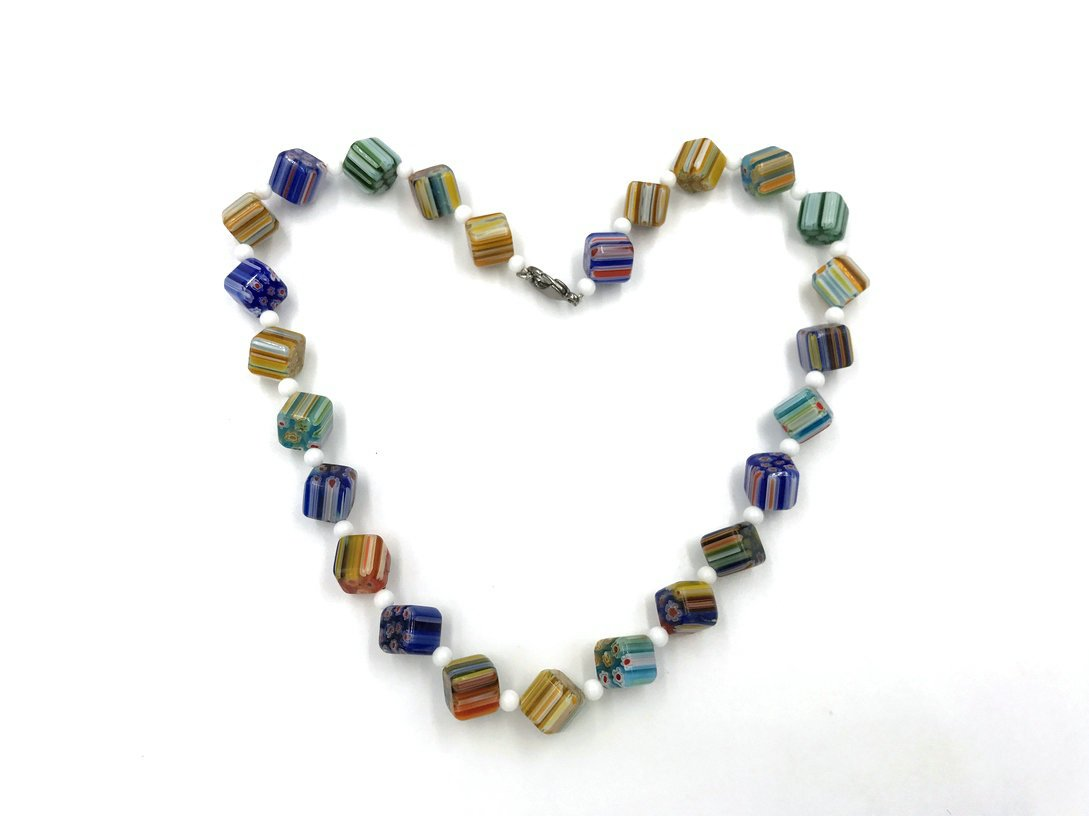 Skyllc Deep Color Mixed Color Striped Cube Crystal Glass Beads for Women or Girl
