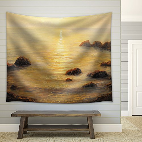 Colorful Golden Sunrise with Sunpath on the Sea Surface Painted on the Fabric Wall