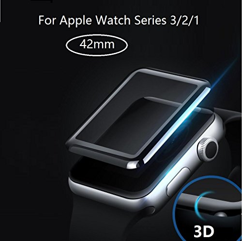 Baozai 42mm Curved Full Coverage Tempered Glass Screen Protector for Apple Watch Series 3/2/1 (42mm)