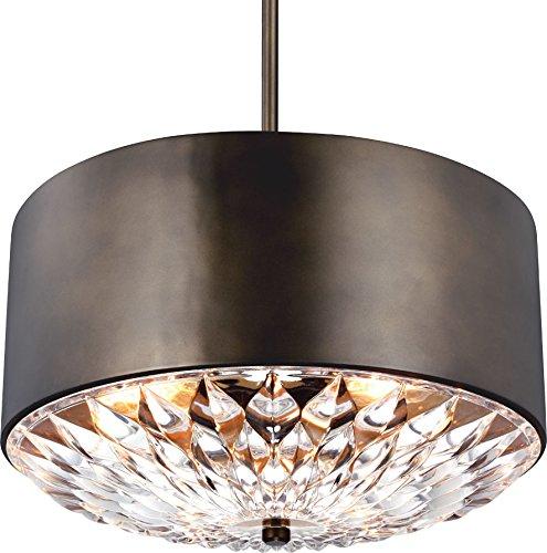 Feiss F3033/4DAGB Botanic Glass Drum Pendant Lighting, Brass, 4-Light (20