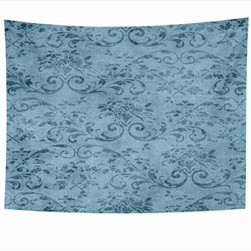 Jacobean Vine - Ahawoso Tapestry 80x60 Inch Jacobean Vintage Blue Floral Pattern Abstract Pretty Vine Aged Flower Grungy Design Tapestries Wall Hanging Home Decor for Living Room Bedroom Dorm