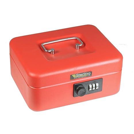 Sterling CB02C - Caja metálica para dinero (con candado de combinación), color rojo
