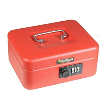Sterling CB02C - Caja metálica para dinero (con candado de combinación), color rojo: Amazon.es: Oficina y papelería