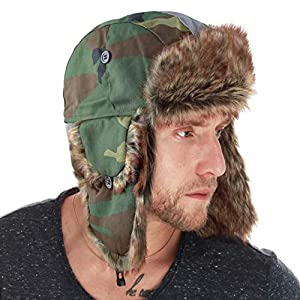 THE HAT DEPOT Faux Fur Safety Reflective Aviator Kids Adult Trapper Hat Snow Ski Trooper Winter Cap