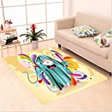 Nalahome Custom carpet Ugly Hairy Monster with Big Eye Cartoon Style Fantasy Colorful Kids Playroom Nursery Multicolor area rugs for Living Dining Room Bedroom Hallway Office Carpet (32.4''x118'')
