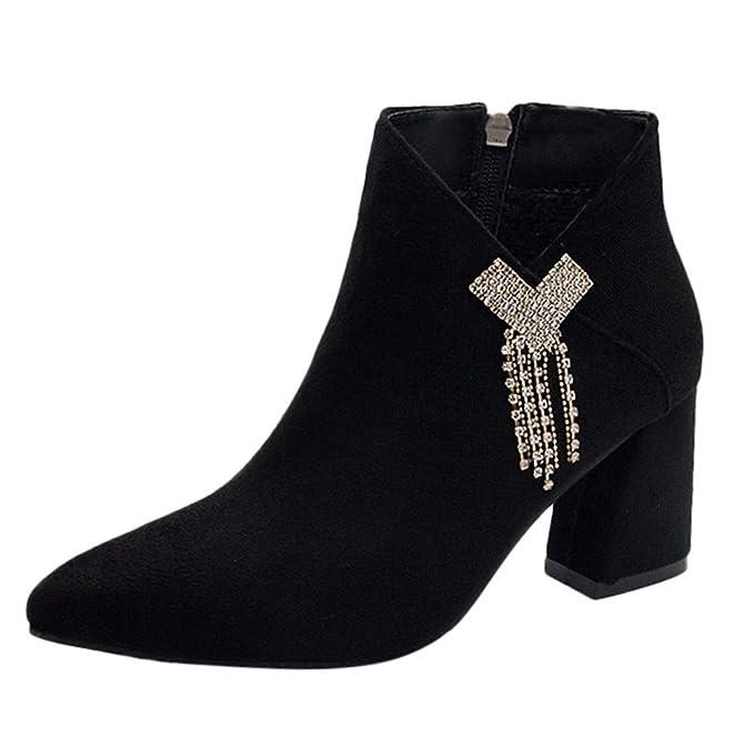 18ca64aa867aa DENER❤ Women Ladies Ankle Boots, Suede Rhinestone High Heels Slip ...