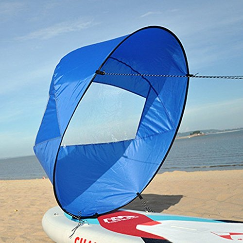 Liruis 42'' Foldable Kayak Downwind Wind Sail Kit Sup Paddle Board Instant Popup Easy Setup for Kayak Boat Sailboat Canoe Blue