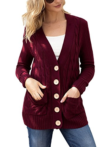 Blibea Womens Casual Long Sleeve Knit Cardigans Button Down Cable Sweater Coats with Pockets X-Large Bungundy by Blibea