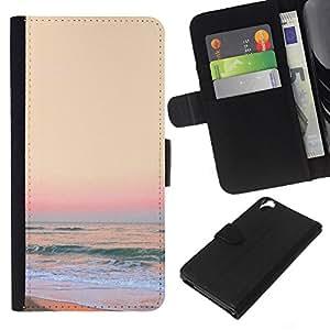 Supergiant (Sunset Sand Beach Yellow Waves Surf) Dibujo PU billetera de cuero Funda Case Caso de la piel de la bolsa protectora Para HTC Desire 820