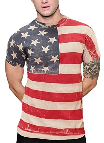Arvilhill Mens July 4th American Flag Casual Tops Patriotic Hip Hop Short Sleeve T Shirts USA Flag XL