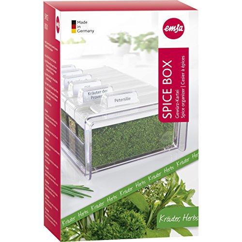 Emsa 509262 Gewürz-Kartei Kräuter, 6 Gewürze, 0.075 Liter, Weiß/Transparent, Spice Box