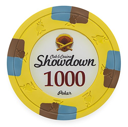 Pack of 50 Showdown Poker Chips, Heavyweight 13.5-gram Clay Composite by Claysmith Gaming ($1,000 - Spot 1000 Vegas Edge Las