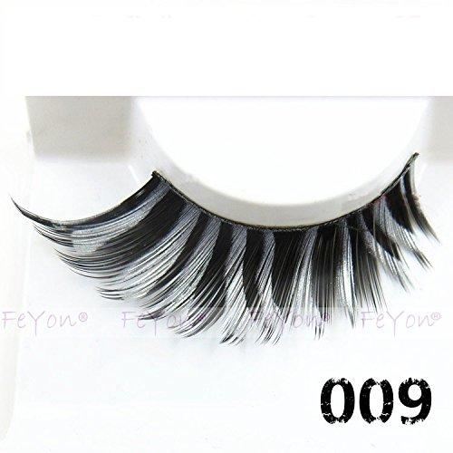 FeYon Grey Black Zebra-stripe False Eyelashes Dance Halloween (Zebra Makeup Halloween)