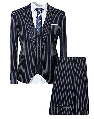 Lianweiqi Men's Handsome 3 Pieces Pinstripe Tuxedos Groom Suit Set Blue Pinstripe Tuxedo