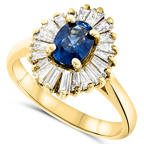 Sapphire Ballerina (18k Yellow Gold Blue Sapphire and Diamond Ballerina Setting Ring)